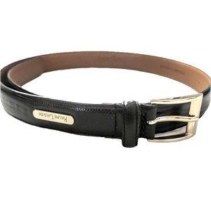 Ralph Lauren Snake Effect Blk Italian Leather Belt